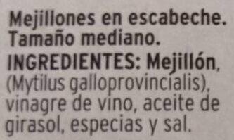 Mejillones de las rías gallegas en escabeche - Ingredientes