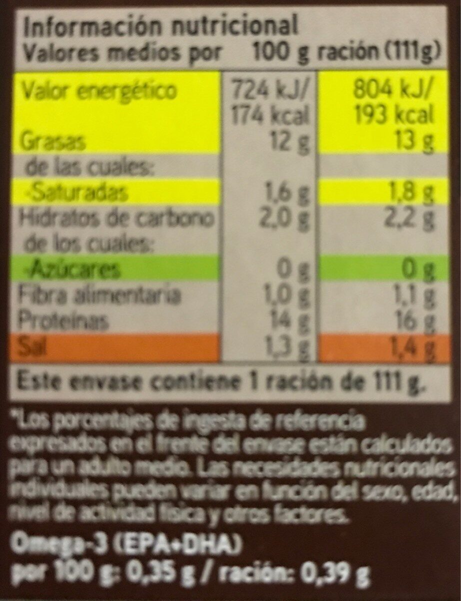 Mejillones en salsa de vieira - Informations nutritionnelles - es