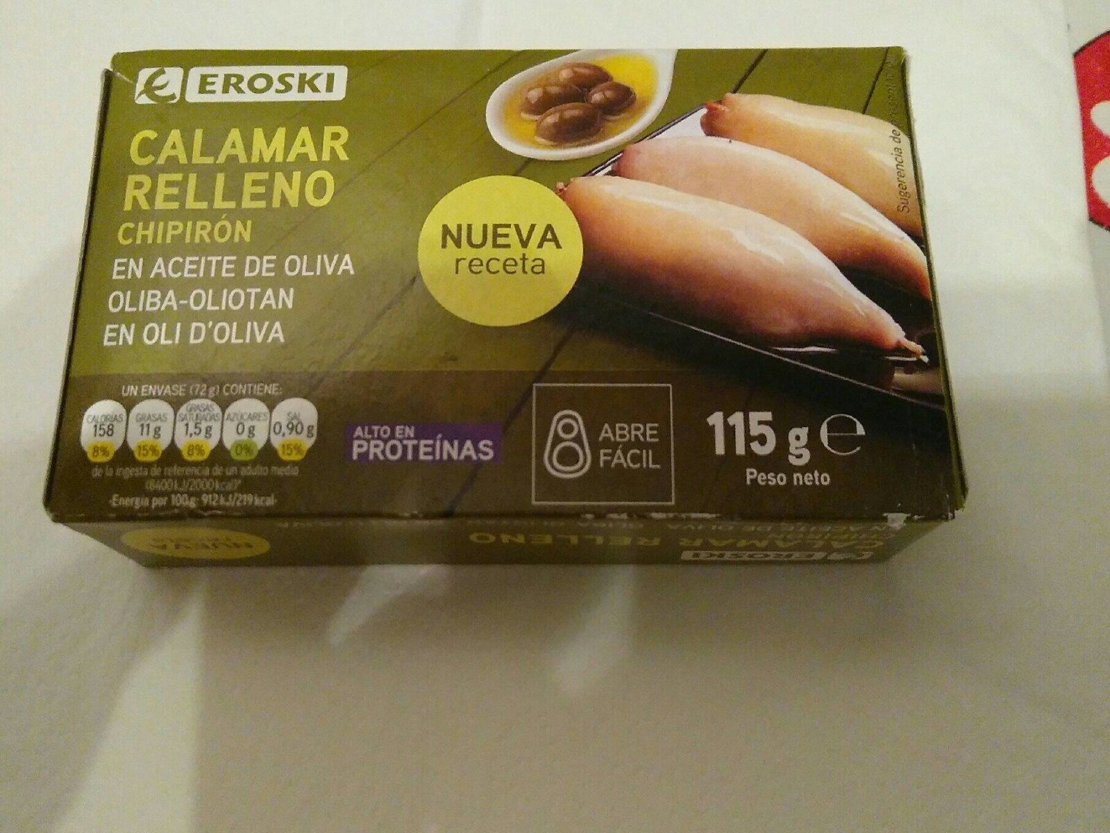 Calamar relleno en aceite de oliva - Produit
