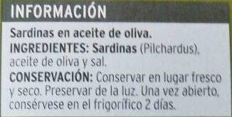 Sardinas en aceite de oliva - Ingrédients