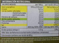 Sardinas en aceite de oliva - Informations nutritionnelles