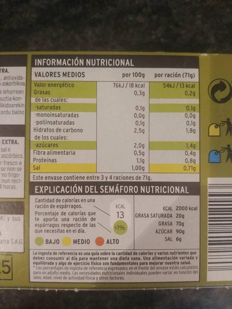 Espárragos blancos 9/12 - Información nutricional - es