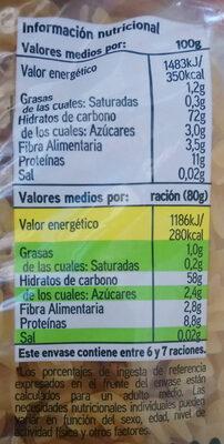Espirales - Informations nutritionnelles - es