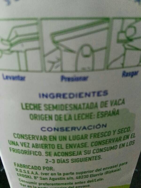 Leche UHT semidesnatada - Ingredients