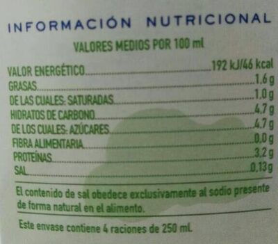 Leche UHT semidesnatada - Nutrition facts