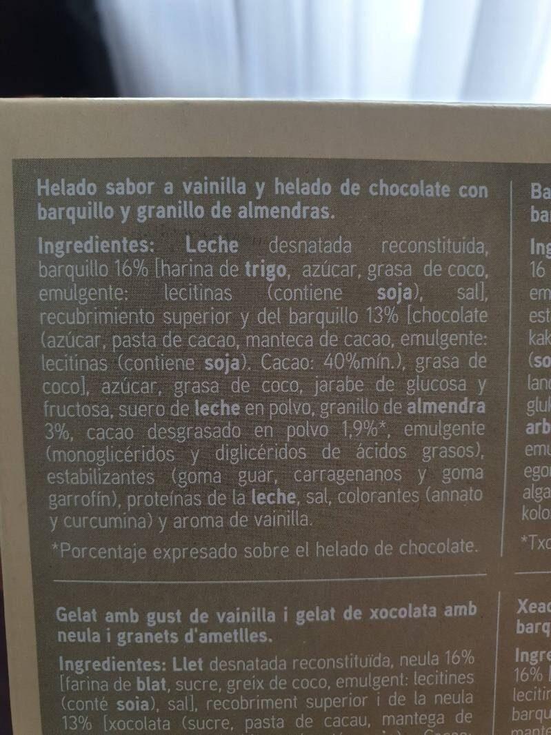 Cono sabor a vainilla y chocolate - Ingredients