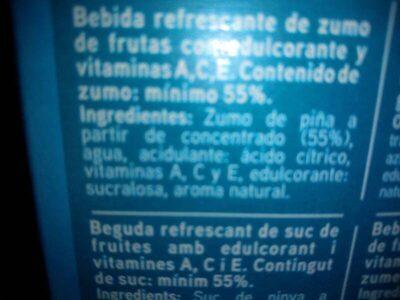 Sannia - Zumo de piña - Ingredients