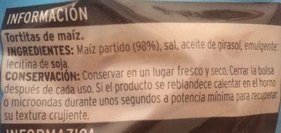 Sannia - Tortitas de maíz - Ingredientes