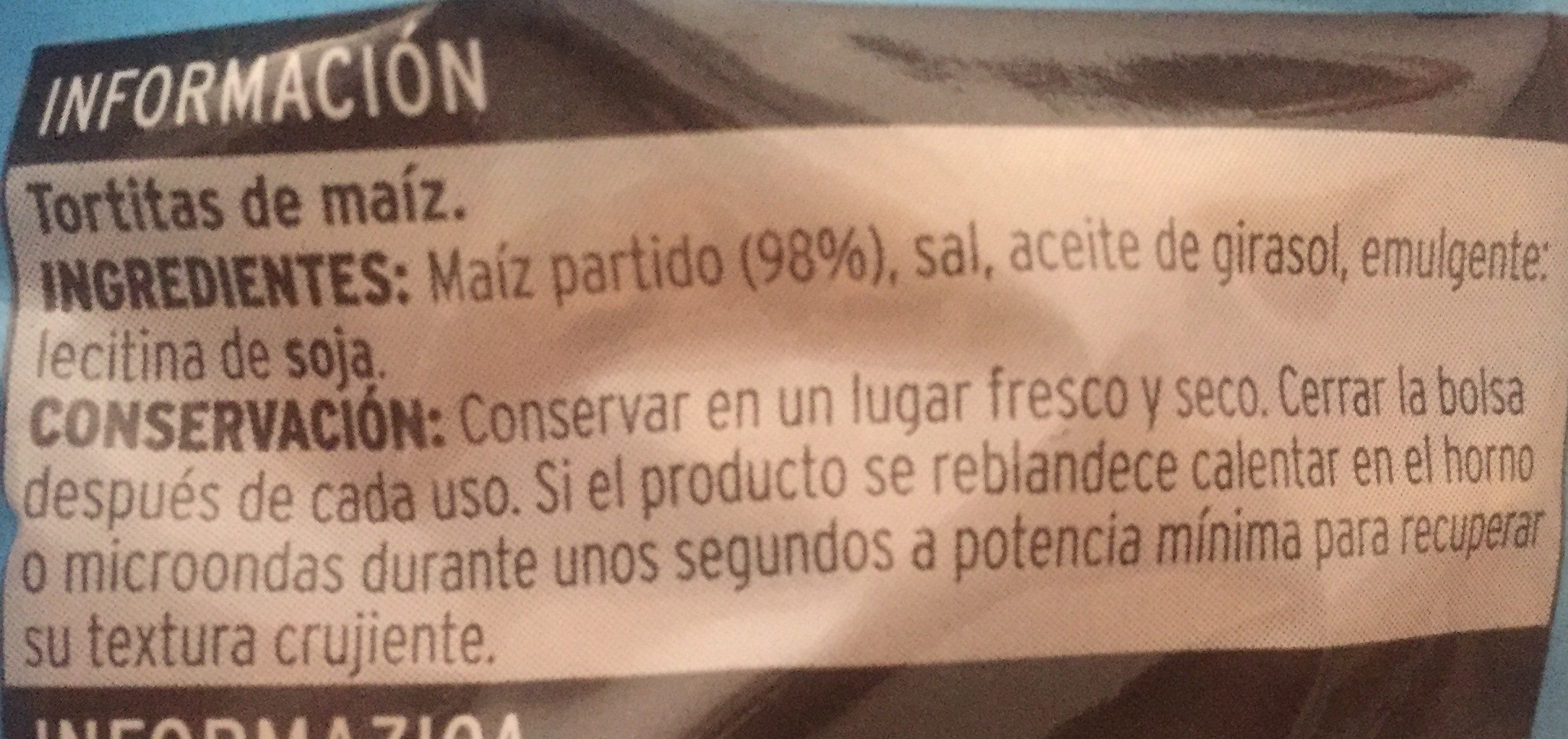 Sannia - Tortitas de maíz - Ingrédients