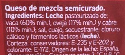 Maestro - Queso semicurado - Ingredients - es