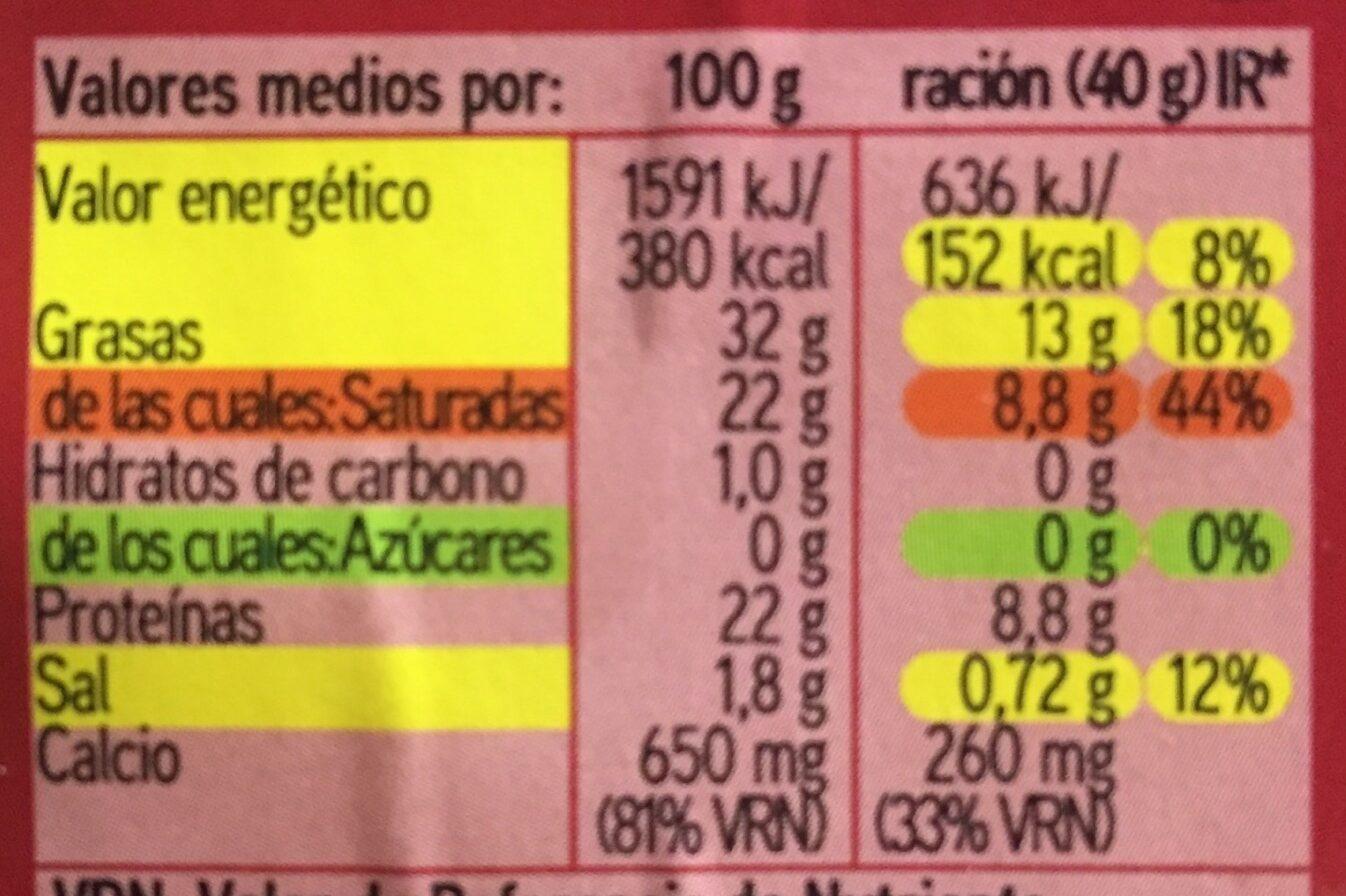 Maestro - Queso semicurado - Informació nutricional - es