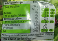 Ensalada gourmet - Nutrition facts