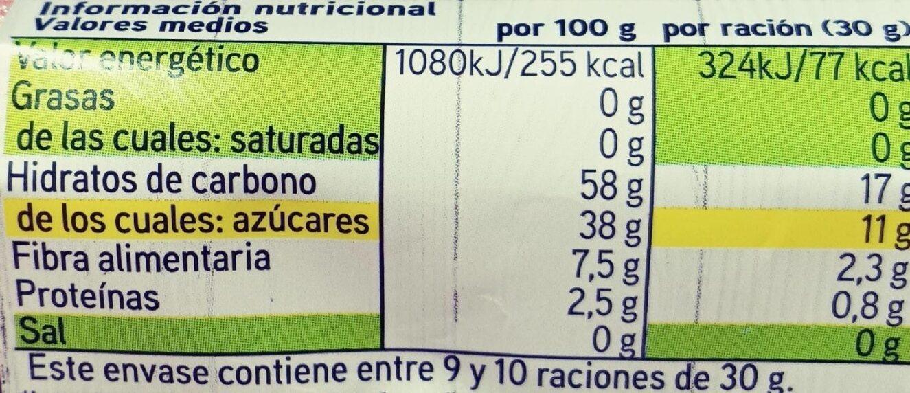 Frutas desecadas Ciruela - Información nutricional - es