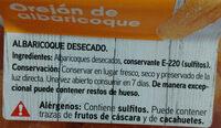 Orejón de albaricoque - Ingrédients - es