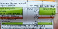 Orejón de albaricoque - Informations nutritionnelles - es