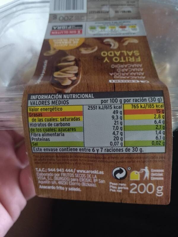 Anacardo Frito Salado - Informació nutricional