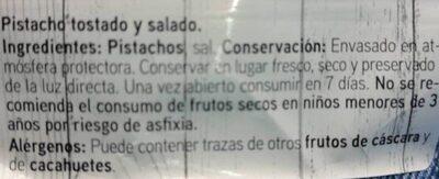 Pistacho tostado Salado - Ingredientes - es