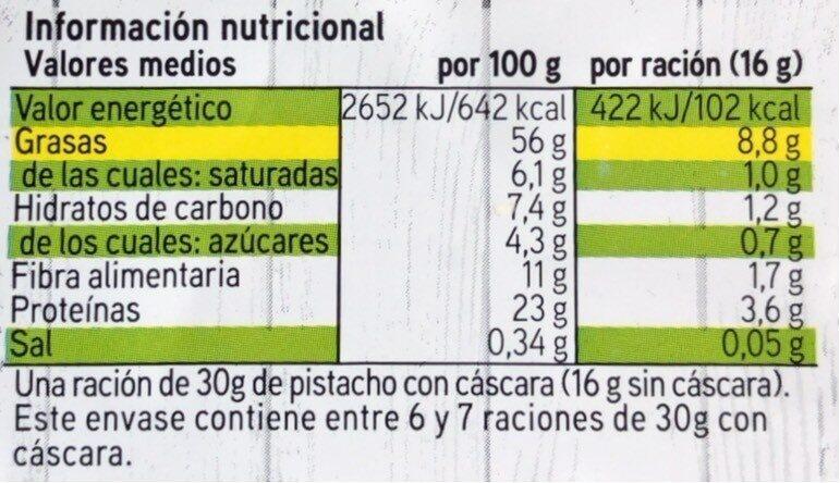 Pistacho tostado Salado - Información nutricional - es