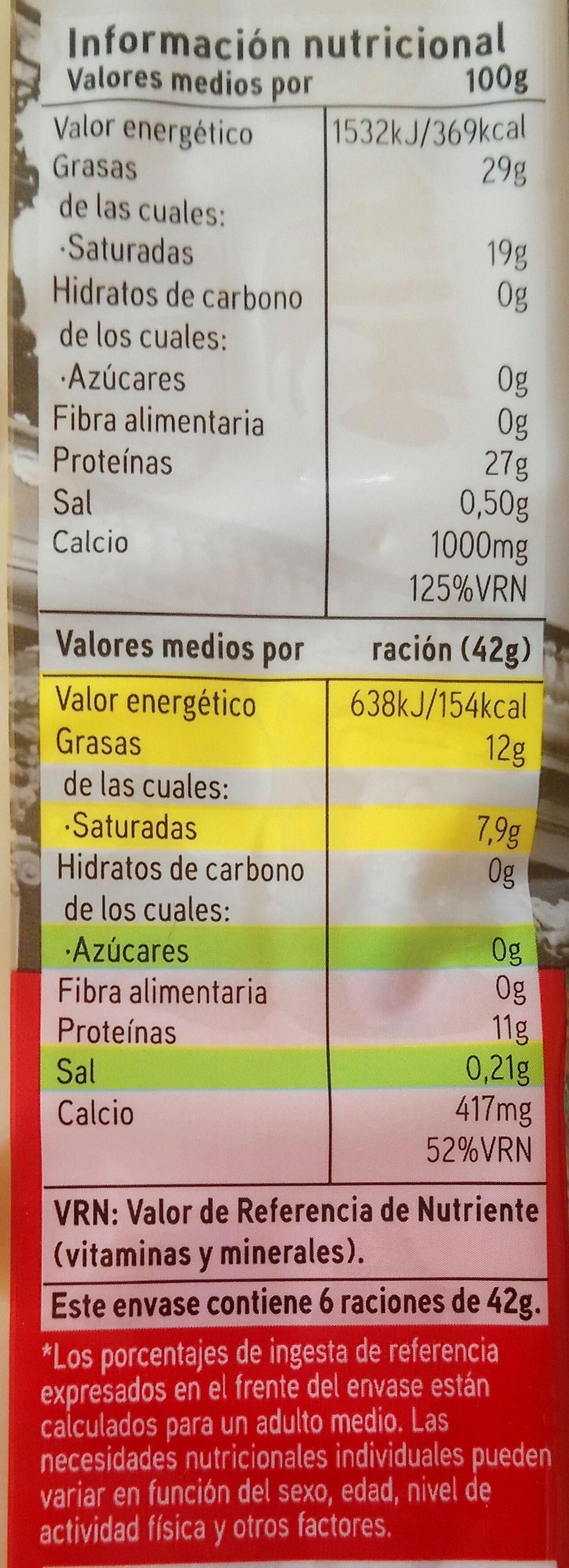 Queso emmental francés - Información nutricional - es