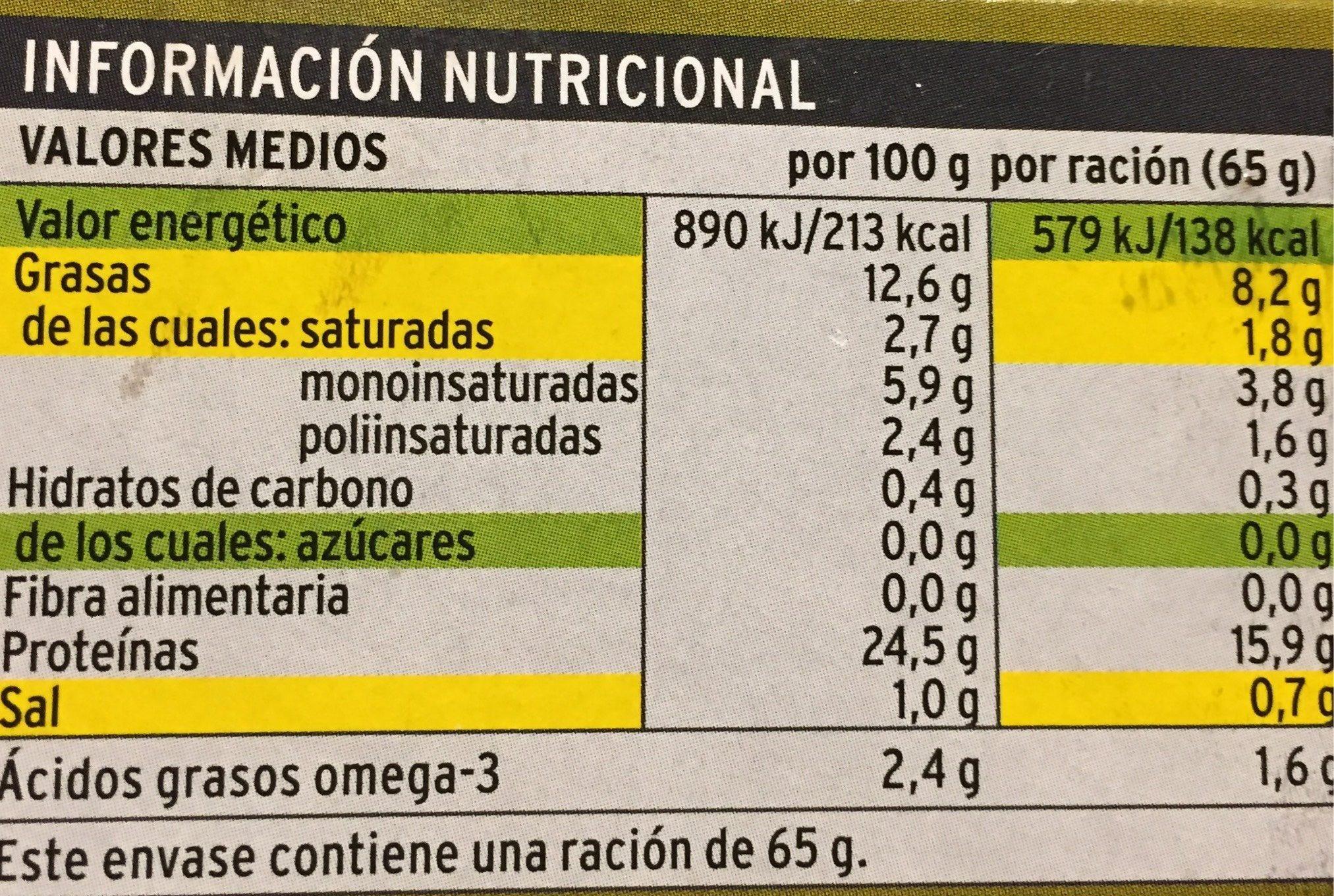 Caballa del sur en aceite de oliva - Informació nutricional