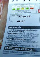Lomo de cerdo adobado extrafino - Ingredients