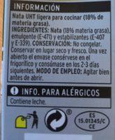 Nata UHT - Ingredientes