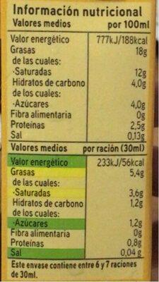 Nata UHT - Informació nutricional - es