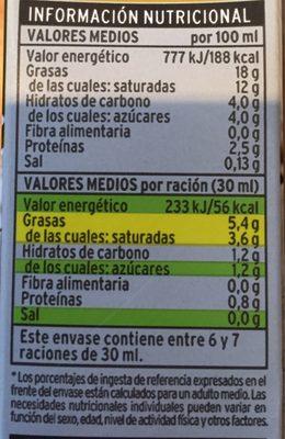 Nata UHT - Información nutricional