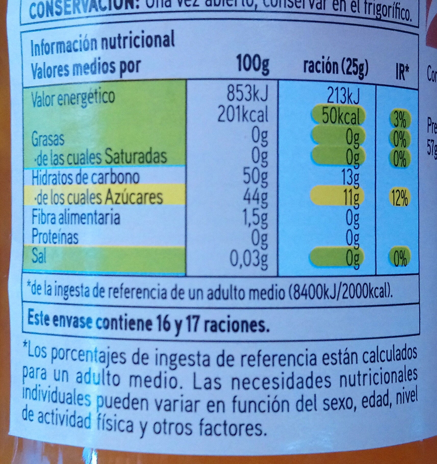 Ermelada de melocotón - Voedingswaarden - es