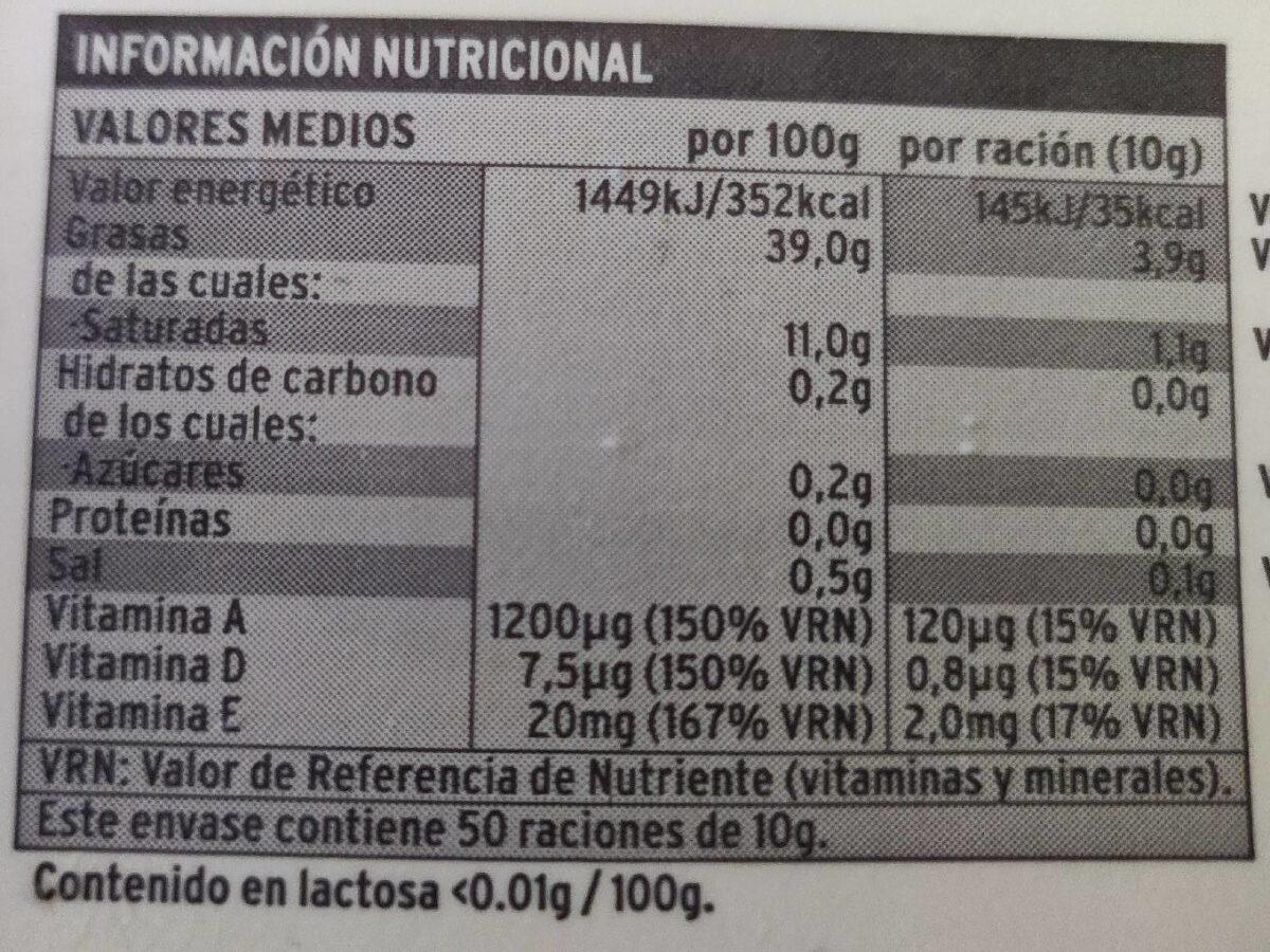 Sannia - Margarina ligera vegetal - Informació nutricional