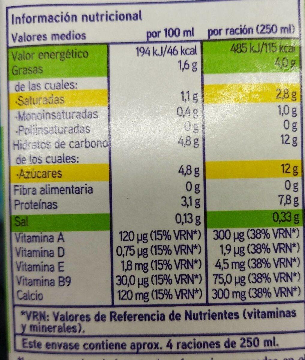 Sin lactosa - Información nutricional - es