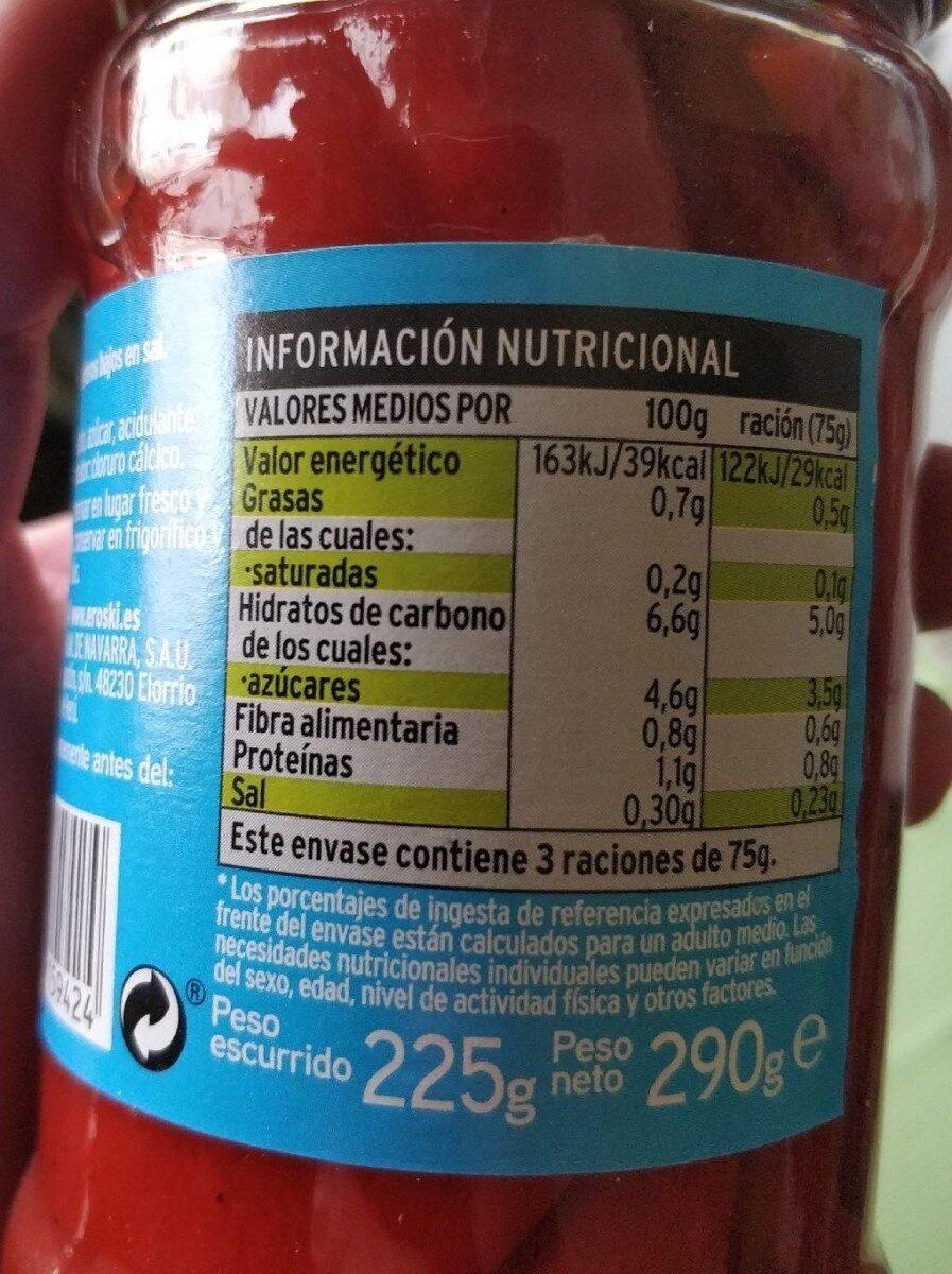 Pimientos del piquillo asados enteros - Informations nutritionnelles - es