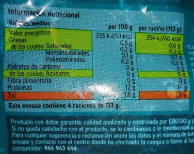 Filetes de bacalao al punto de sal - Información nutricional