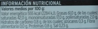 Mantequilla - Nutrition facts - es