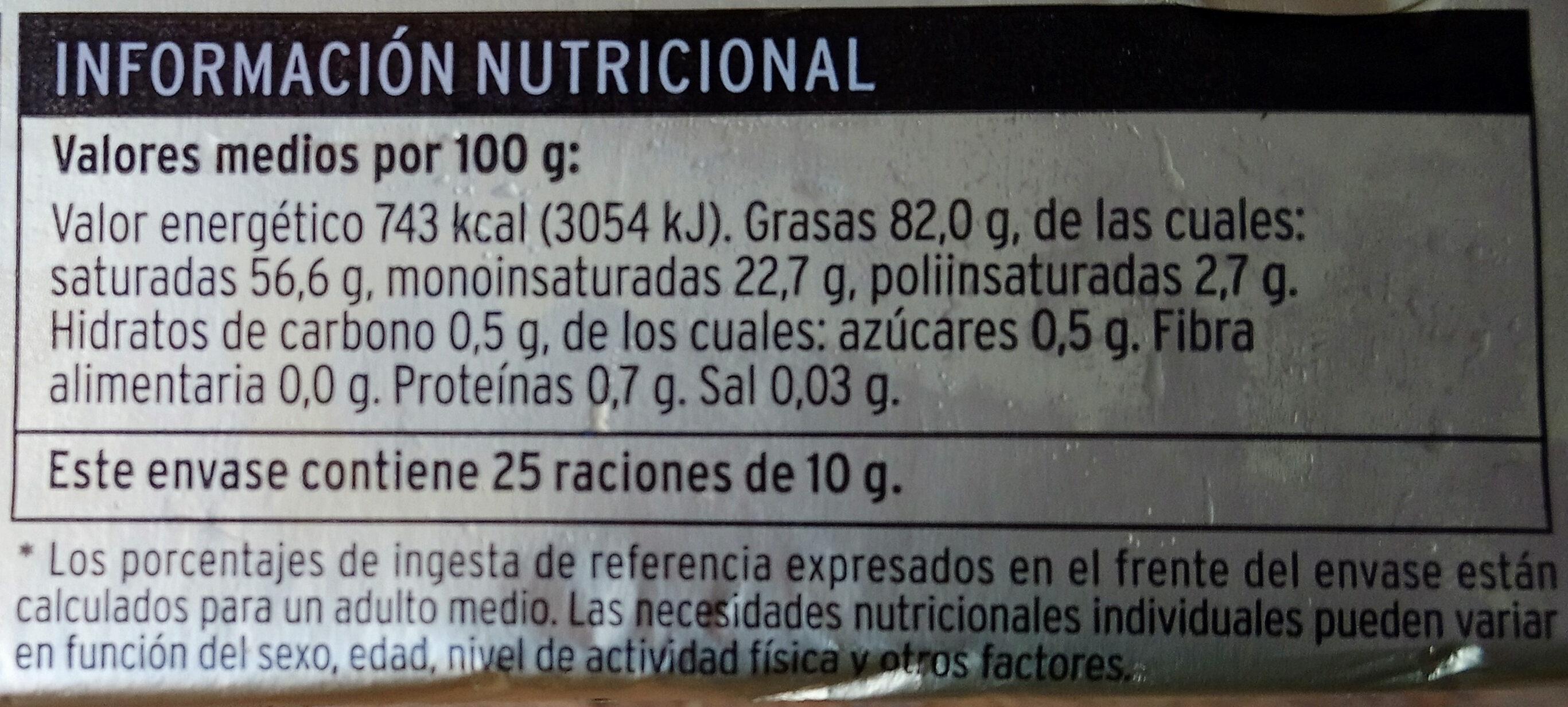 Mantequilla - Voedingswaarden