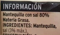 Mantequilla con sal - Ingrediënten - es