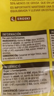 Pan de Hamburguesa Maxi - Ingrédients - es