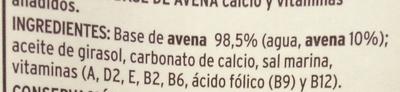 Bebida de avena con calcio - Ingredientes