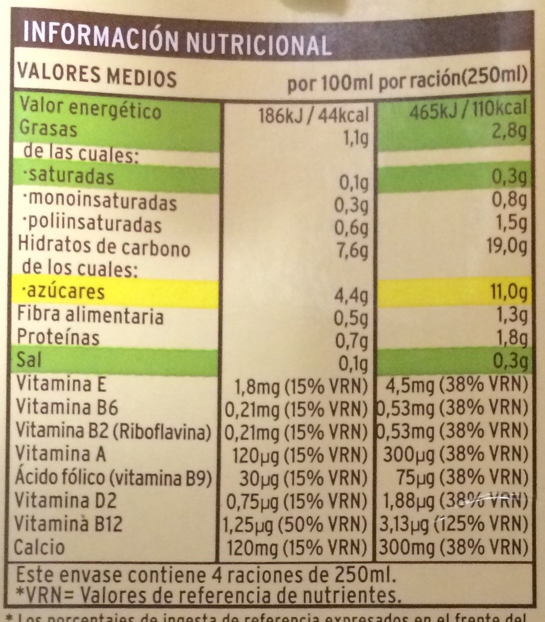Bebida de avena con calcio - Información nutricional - es