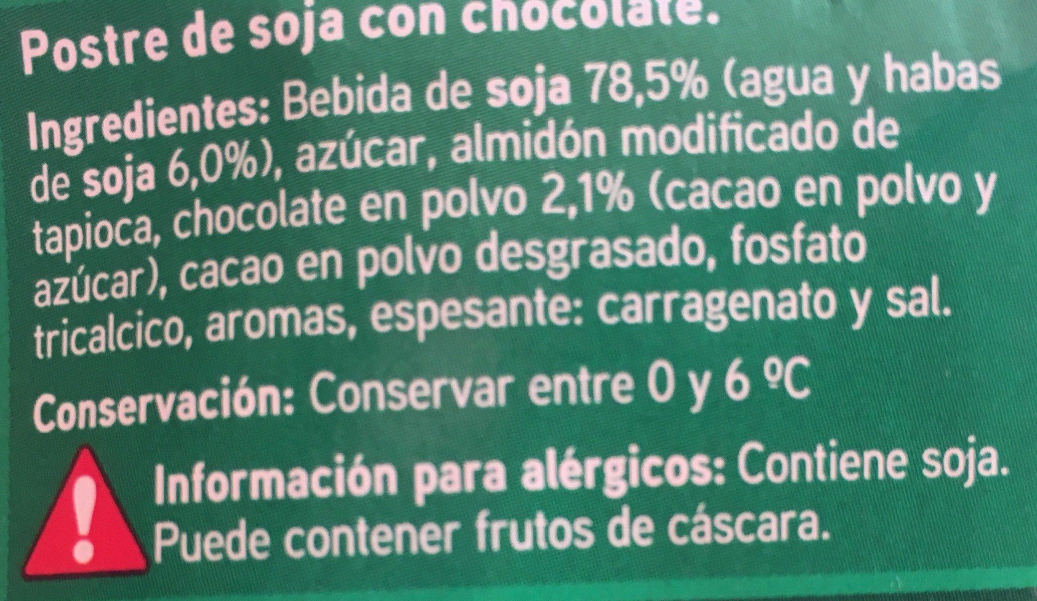 Postre de soja con chocolate - Ingrédients - fr
