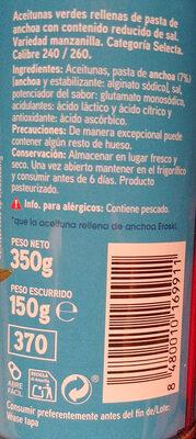 Aceitunas rellenas de anchoa suaves - Ingredients - es