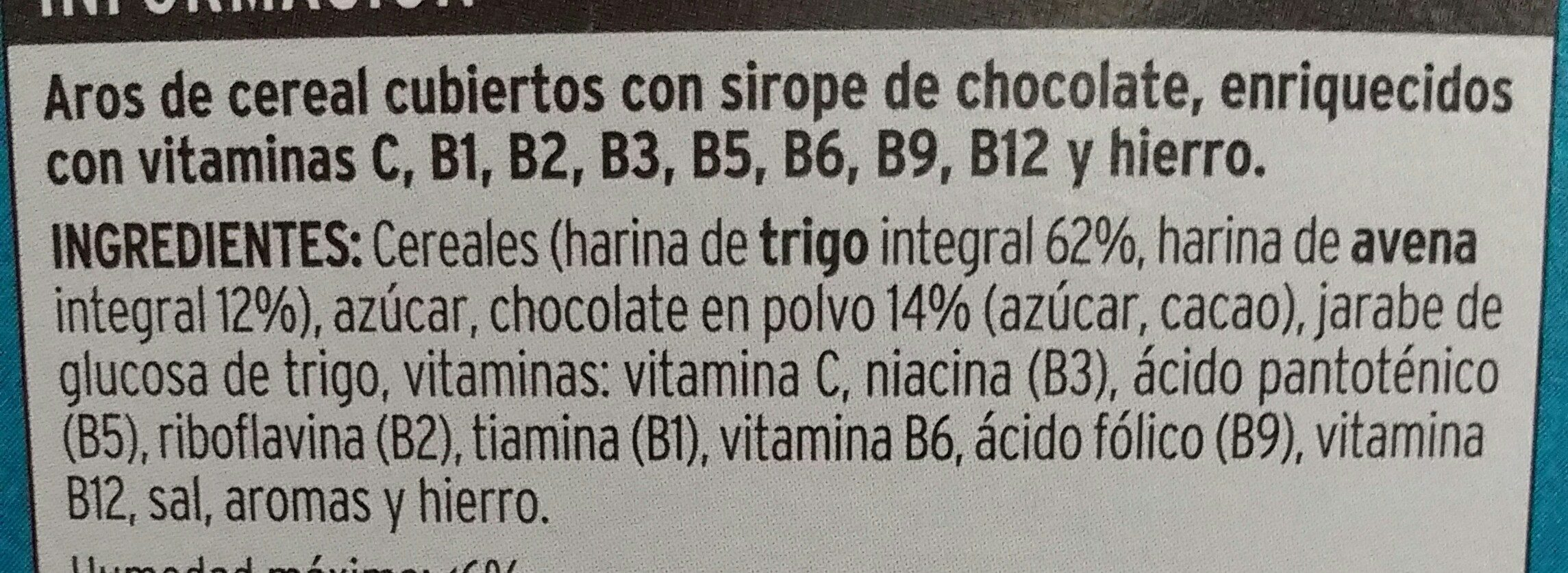 Hula chocs - Arroz de trigo y avena con chocolate - Ingredientes