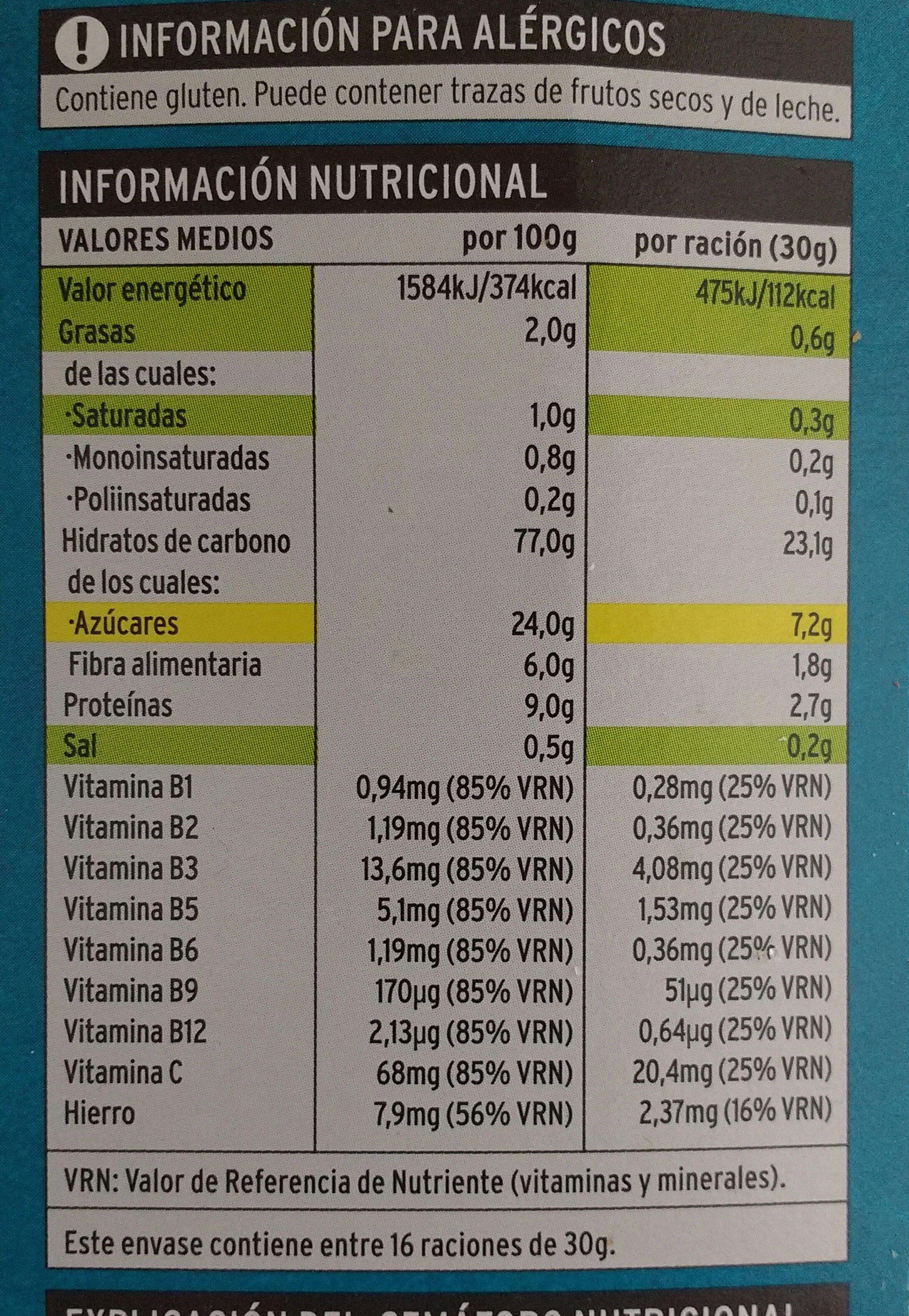 Hula chocs - Arroz de trigo y avena con chocolate - Informations nutritionnelles