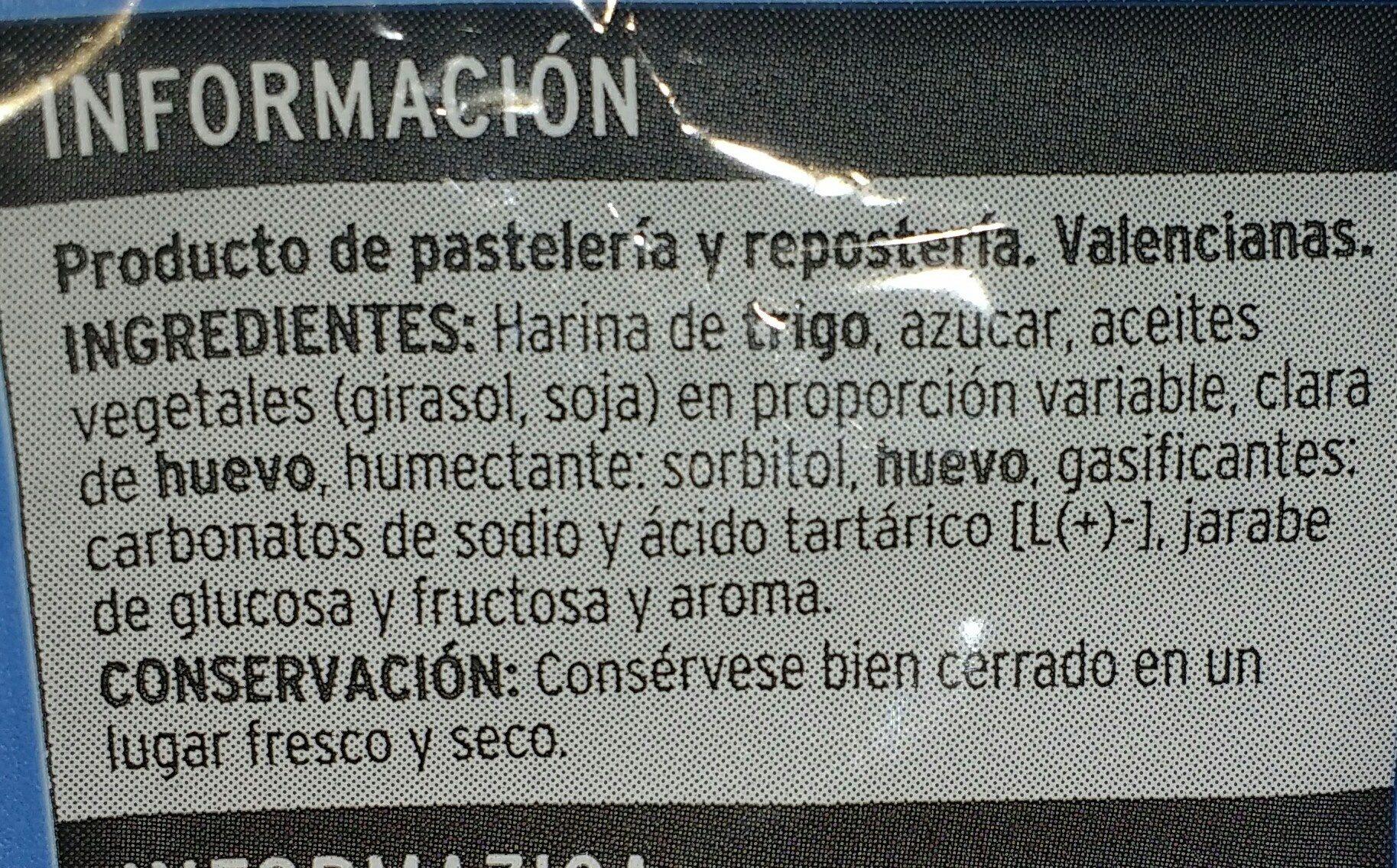 Magdalenas valencianas - Ingredientes - es
