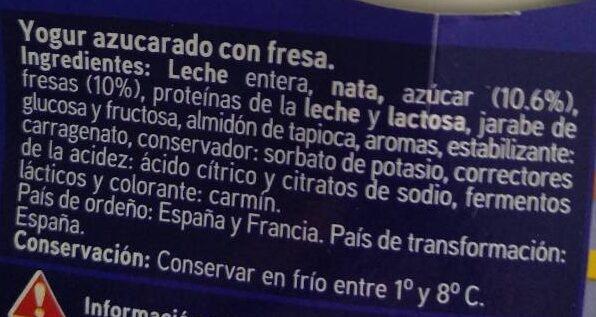 Yogur griego con fresa - Ingrediënten