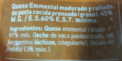 Emmental queso rallado - Ingrediënten - es