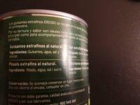 Guisantes al natural extrafinos - Ingrédients