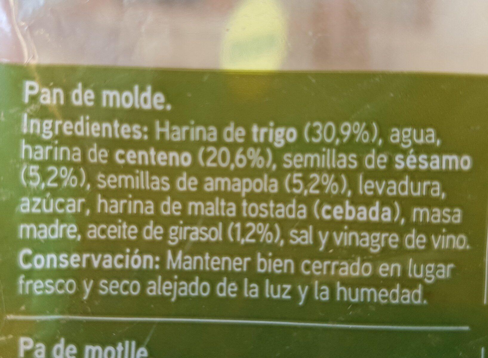 Pan de molde con centeno y semillas - Ingredients