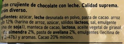 Chocolate crujiente turron - Ingredients