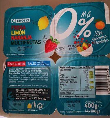 Fresa, limón, naranja, multifrutas 0%